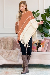 S1-5-1-AHDF3007BR BROWN TWO TONE CHAIN PRINT FRINGE PONCHO/6PCS