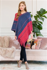 S1-3-1-AHDF3007RDBL RED BLUE TWO TONE CHAIN PRINT FRINGE PONCHO/6PCS