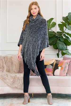 S1-6-2-AHDF3009BK BLACK ULTRA SOFT TURTLE NECK FRINGE PONCHO/6PCS