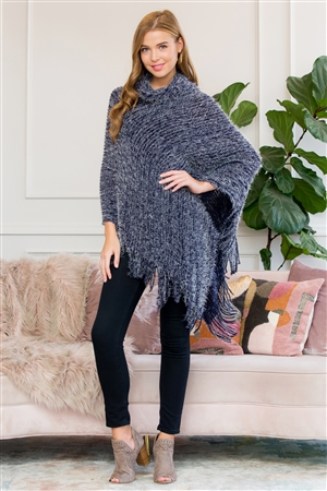 S1-8-1-AHDF3009NV NAVY ULTRA SOFT TURTLE NECK FRINGE PONCHO/6PCS