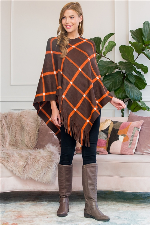 S1-5-1-AHDF3010BR BROWN GRIDLINES FRINGED PONCHO/6PCS