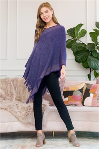S1-6-4-AHDF3011PU PURPLE TWO TONE FRINGE PONCHO/6PCS