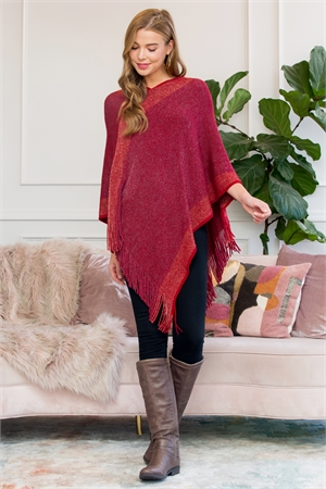 S1-6-4-AHDF3011RD RED TWO TONE FRINGE PONCHO/6PCS