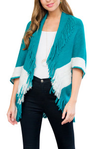 S1-7-1-AHDF3013TL TEAL TWO TONE FRINGE CARDIGAN/6PCS