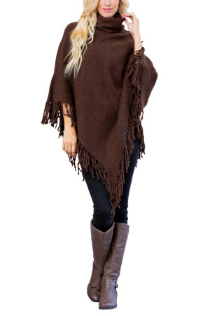 A3-1-5-AHDF3014BR BROWN TURTLE NECK FRINGE PONCHO/6PCS