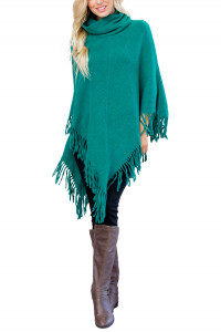 S1-5-5-AHDF3014DEM GREEN TURTLE NECK FRINGE PONCHO/6PCS