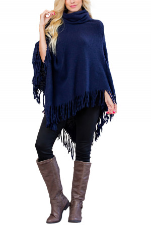 S1-3-5-AHDF3014NV NAVY TURTLE NECK FRINGE PONCHO/6PCS