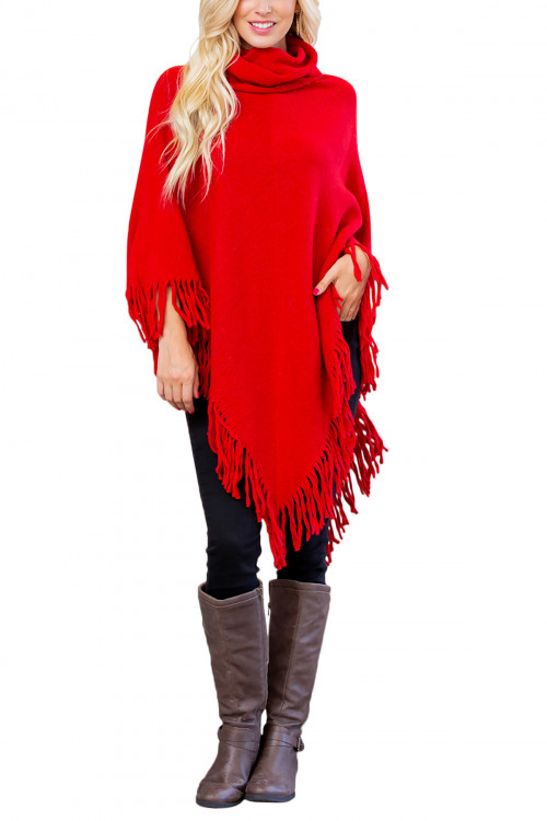 A3-2-5-AHDF3014RD RED TURTLE NECK FRINGE PONCHO/6PCS