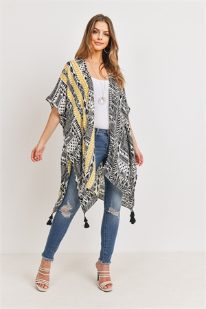 S24-5-4-HDF3162-TRIBAL PATTERN PRINT TASSELED OPEN FRONT KIMONO/6PCS
