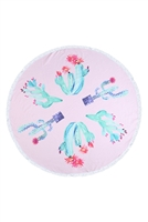S27-9-5-HDF3199-CACTUS PATTERN ROUND TOWEL/1PC