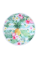 S27-9-5-HDF3201-FLORAL PINEAPPLE ROUND TOWEL/1PC