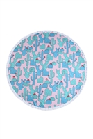 S27-7-3-HDF3205-CACTUS PATTERN ROUND TOWEL/1PC