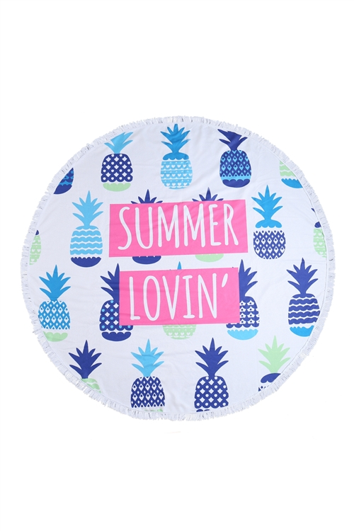 S26-8-3-HDF3206-SUMMER LOVIN PINEAPPLE ROUND TOWEL/1PC