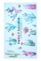 S26-8-3-HDF3211-CACTUS AND SUCCULENT PATTERN TOWEL/1PC