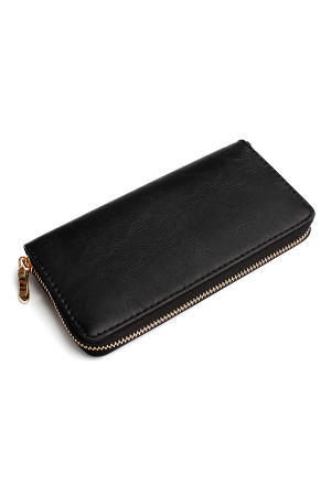 SA5-4-1-AHDG1460BK BLACK CLASSIC SINGLE ZIPPER WALLET/6PCS