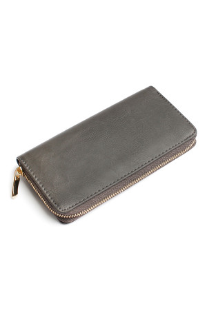 S4-6-1-AHDG1460DGY DARK GRAY CLASSIC SINGLE ZIPPER WALLET/6PCS