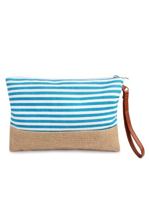 S6-5-4-AHDG1469AQ Aqua Striped Cosmetic Pouch/6PCS