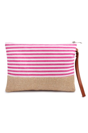 S6-4-3-AHDG1469FS Fuchsia Striped Cosmetic Pouch/6PCS
