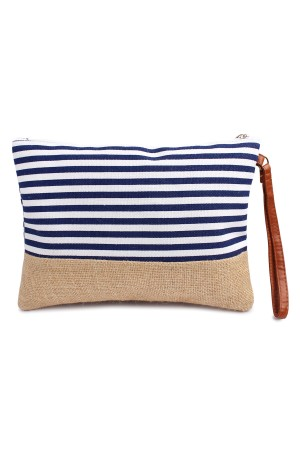 S3-8-5-AHDG1469NV Navy Striped Cosmetic Pouch/6PCS