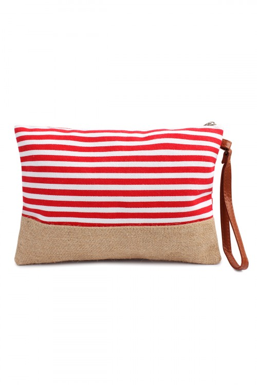 S4-5-1-HDG1469RD Red Striped Cosmetic Pouch/6PCS