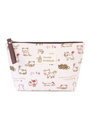 S4-6-1-AHDG1586-2 CAT PRINT COSMETIC BAG/6PCS