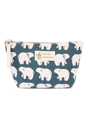 S6-6-5-AHDG1586-5 POLAR BEAR PRINT COSMETIC BAG/6PCS