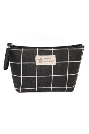 S6-6-4-AHDG1586-12 BLACK NATURAL STYLE HANDMADE COSMETIC BAG/6PCS