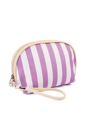 S6-6-1-AHDG1857-1LV LAVENDER  STRIPED COSMETIC BAG/6PCS