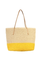 S20-3-2-HDG1858YW- STRAW LEATHER STRAP TOTE BEACH  BAG- YELLOW/6PCS