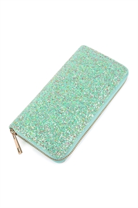 S4-6-3-AHDG1883MN MINT GLITTERS ZIPPER WALLET/6PCS