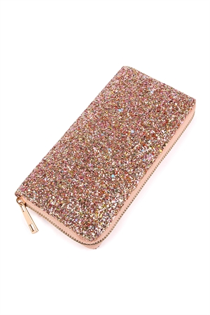 S7-6-1-AHDG1883PE PEACH GLITTERS ZIPPER WALLET/6PCS
