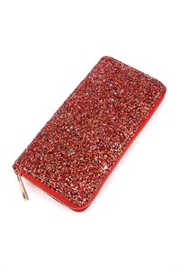 S4-6-3-AHDG1883RD RED GLITTERS ZIPPER WALLET/6PCS