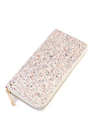 S4-6-1-AHDG1883WH WHITE GLITTERS ZIPPER WALLET/6PCS