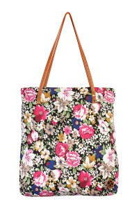 S7-5-1-AHDG1892BK BLACK FLORAL INCLINED TOTE BAG/6PCS