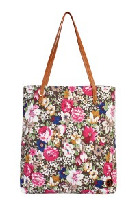 S7-6-1-AHDG1892NV BROWN FLORAL INCLINED TOTE BAG/6PCS