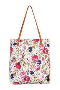 S7-5-1-AHDG1892WT WHITE FLORAL INCLINED TOTE BAG/6PCS