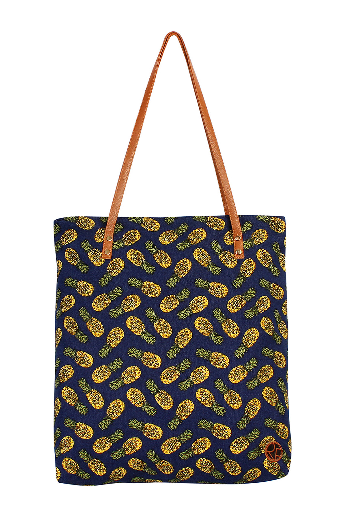 S4-5-5-AHDG1893NV NAVY PINEAPPLE PRINT TOTE BAG/6PCS