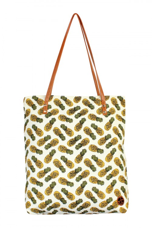 S5-5-5-AHDG1893WT WHITEPINEAPPLE PRINT TOTE BAG/6PCS