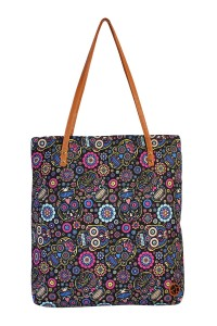S5-6-1-AHDG1894 BLACK SKULL FLOWER PRINT TOTE BAG/6PCS
