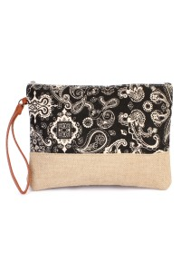 S5-5-3-AHDG1895BK BLACK PAISLEY COSMETIC BAG/6PCS