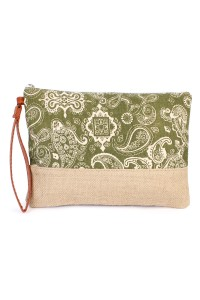 S6-4-3-AHDG1895GR GREEN PAISLEY COSMETIC BAG/6PCS