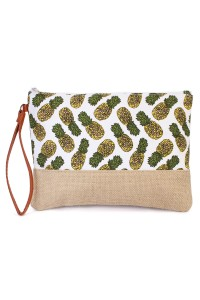 SA4-3-1-AHDG1896WT WHITE PINEAPPLE PATTERN COSMETIC BAG/6PCS
