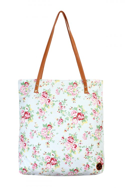 S5-5-5-AHDG1898LBL LIGHT BLUE FLORAL PRINT TOTE BAG/6PCS