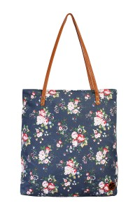 S7-4-5-AHDG1898NV NAVY FLORAL PRINT TOTE BAG/6PCS