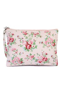 S6-4-4-AHDG1899LPK LIGHT PINK FLORAL PRINT WRISTLET COSMETICS BAG/6PCS