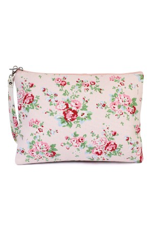 S4-6-2-AHDG1899LPK LIGHT PINK FLORAL PRINT WRISTLET COSMETICS BAG/6PCS