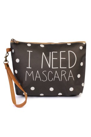 "S18-9-3-AHDG1910 ""I NEED MASCARA"" WRISTLET MAKE UP BAG/6PCS"