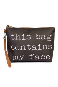 "S7-4-5-AHDG1911BK BLACK ""..MY FACE"" WRISTLET MAKEUP BAG/6PCS"