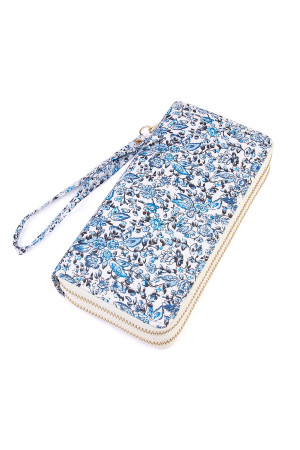 S5-4-1-AHDG1931BL BLUE FLORAL DOUBLE ZIPPER WALLET/6PCS