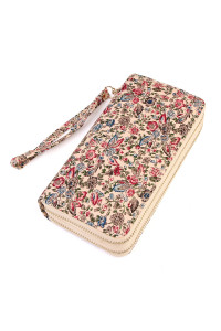 S6-5-1-AHDG1931PK PINK FLORAL DOUBLE ZIPPER WALLET/6PCS